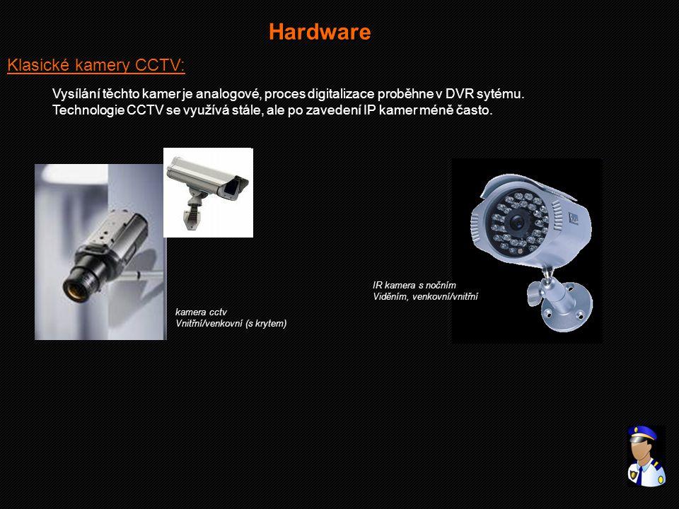 Klasické kamery CCTV: Hardware Vysílání těchto kamer je analogové, proces digitalizace proběhne v DVR sytému. Technologie CCTV se využívá stále, ale p