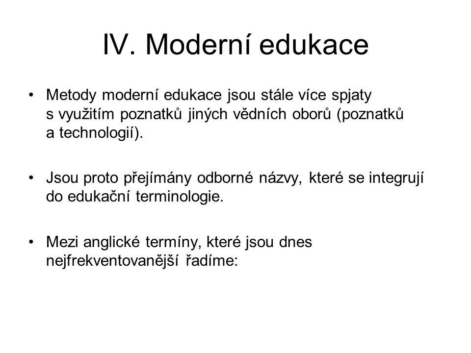 IV. Moderní edukace Metody moderní edukace jsou stále více spjaty s využitím poznatků jiných vědních oborů (poznatků a technologií). Jsou proto přejím