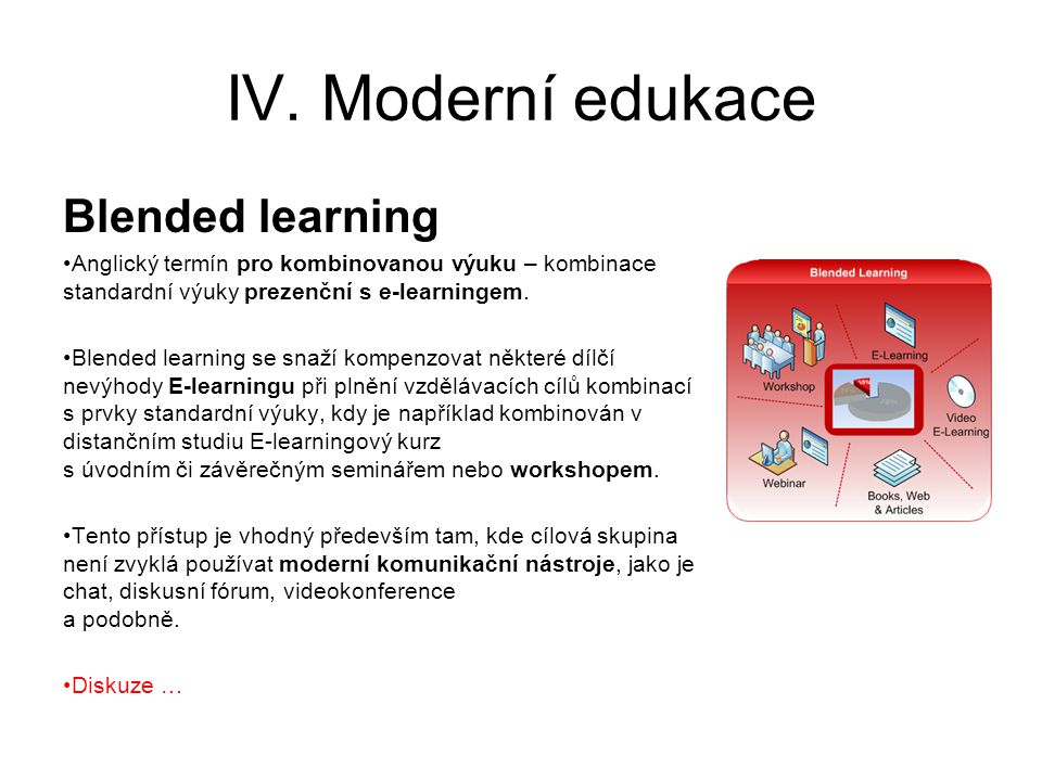 IV. Moderní edukace Blended learning Anglický termín pro kombinovanou výuku – kombinace standardní výuky prezenční s e-learningem. Blended learning se