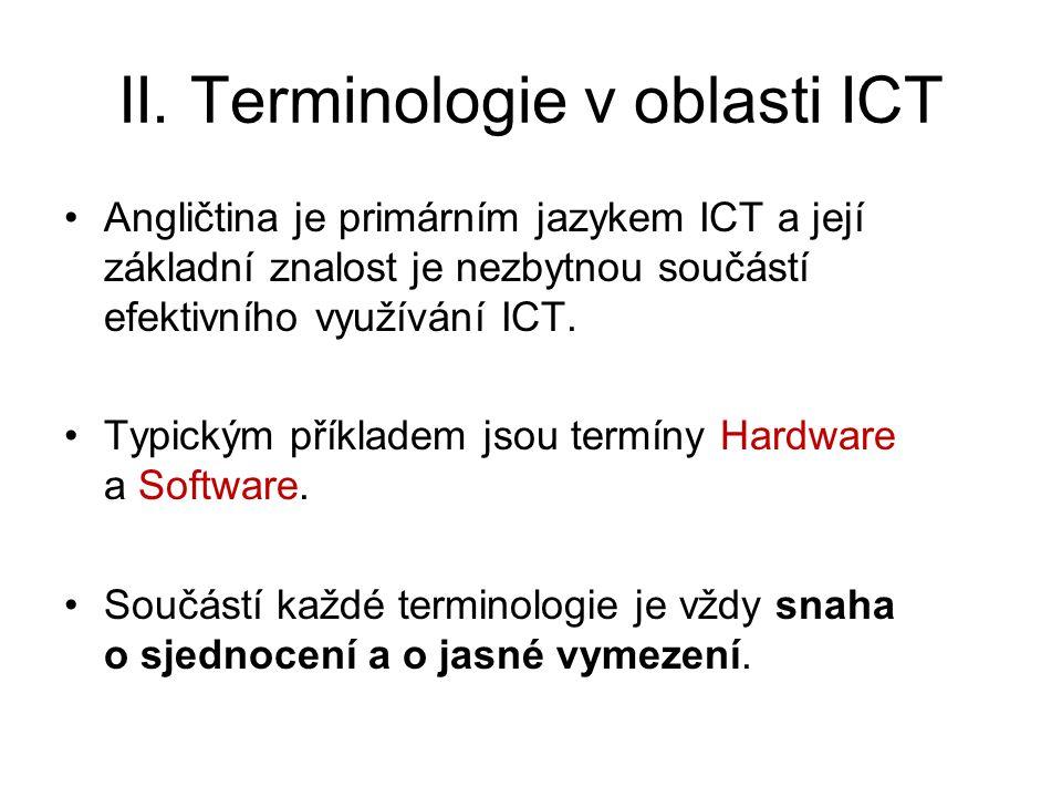 II. Terminologie v oblasti ICT Angličtina je primárním jazykem ICT a její základní znalost je nezbytnou součástí efektivního využívání ICT. Typickým p