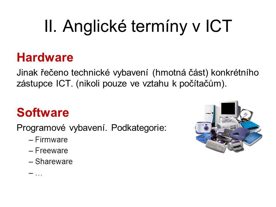 II. Anglické termíny v ICT Hardware Jinak řečeno technické vybavení (hmotná část) konkrétního zástupce ICT. (nikoli pouze ve vztahu k počítačům). Soft