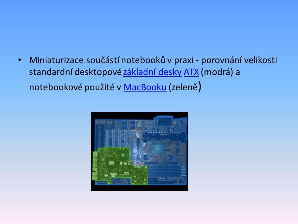 Miniaturizace součástí notebooků v praxi - porovnání velikosti standardní desktopové základní desky ATX (modrá) a notebookové použité v MacBooku (zeleně )základní deskyATXMacBooku