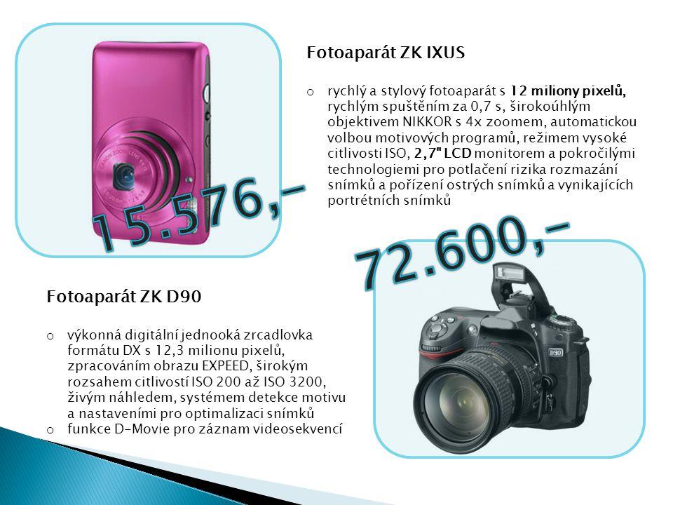 Fotoaparát ZK IXUS o rychlý a stylový fotoaparát s 12 miliony pixelů, rychlým spuštěním za 0,7 s, širokoúhlým objektivem NIKKOR s 4x zoomem, automatic