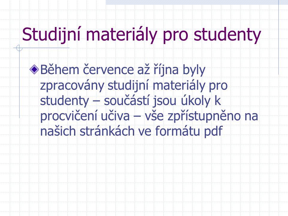 Studijní materiály pro studenty Během července až října byly zpracovány studijní materiály pro studenty – součástí jsou úkoly k procvičení učiva – vše zpřístupněno na našich stránkách ve formátu pdf