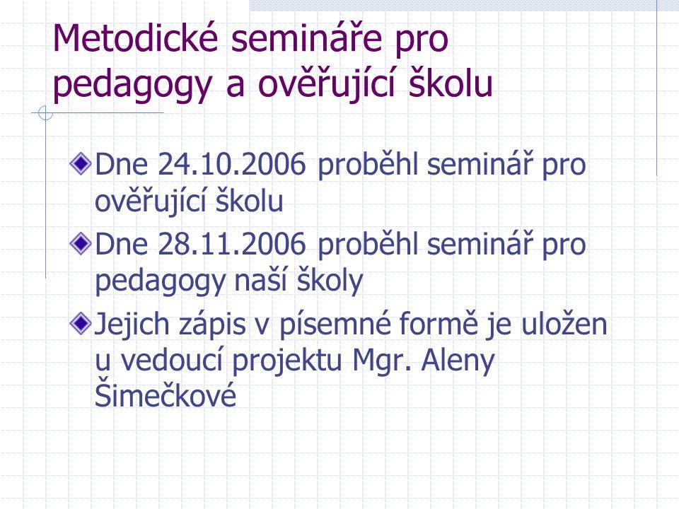 Metodické semináře pro pedagogy a ověřující školu Dne 24.10.2006 proběhl seminář pro ověřující školu Dne 28.11.2006 proběhl seminář pro pedagogy naší