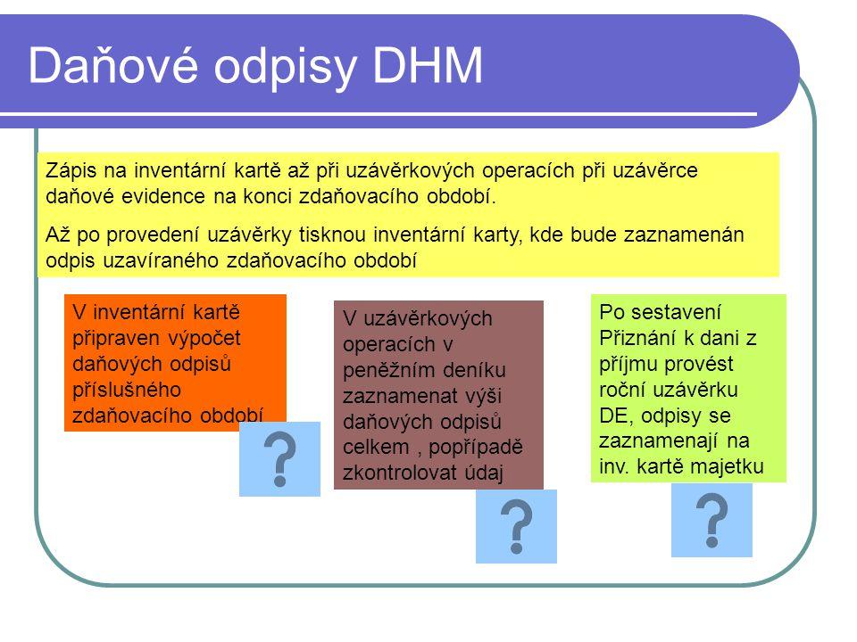 Daňové odpisy DHM Zápis na inventární kartě až při uzávěrkových operacích při uzávěrce daňové evidence na konci zdaňovacího období. Až po provedení uz