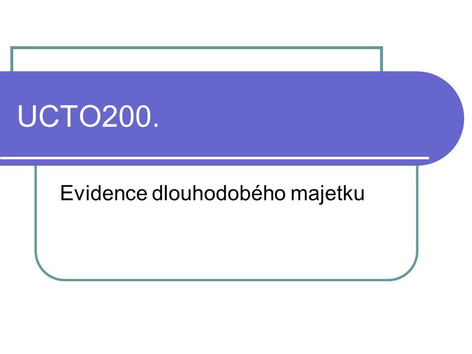 UCTO200. Evidence dlouhodobého majetku
