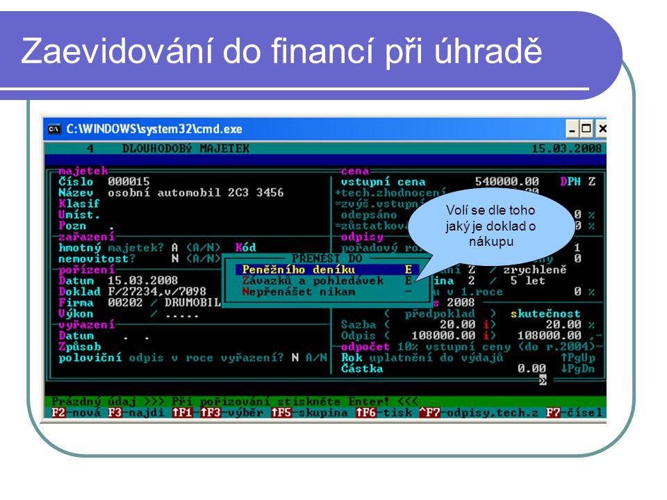 Potvrzení zaevidování do financí Kontrola údajů pro přenos do financí Potvrzení pro přenos