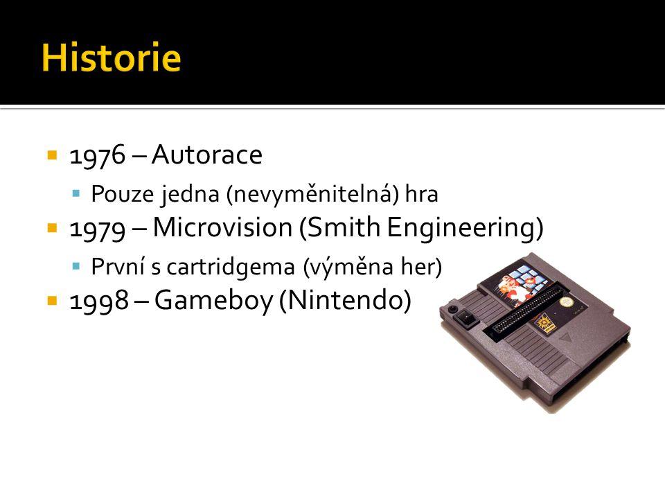  1976 – Autorace  Pouze jedna (nevyměnitelná) hra  1979 – Microvision (Smith Engineering)  První s cartridgema (výměna her)  1998 – Gameboy (Nintendo)