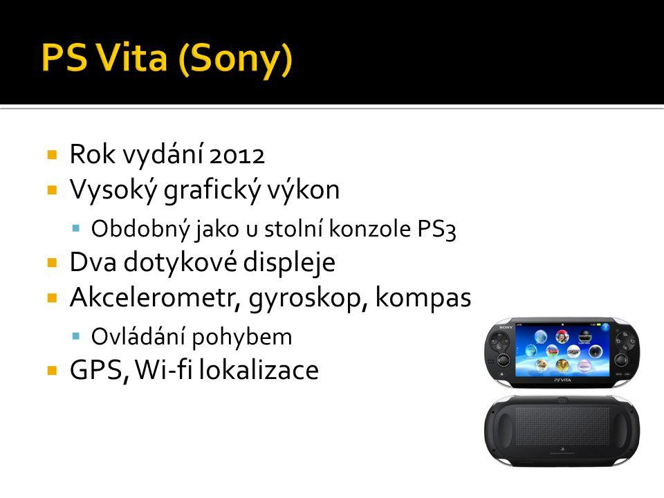  Rok vydání 2012  Vysoký grafický výkon  Obdobný jako u stolní konzole PS3  Dva dotykové displeje  Akcelerometr, gyroskop, kompas  Ovládání pohybem  GPS, Wi-fi lokalizace