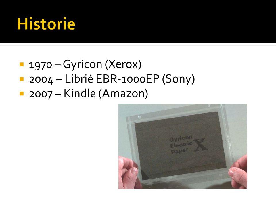  1970 – Gyricon (Xerox)  2004 – Librié EBR-1000EP (Sony)  2007 – Kindle (Amazon)