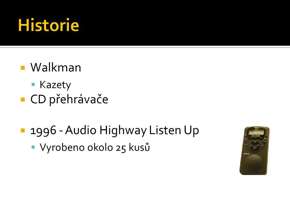  Walkman  Kazety  CD přehrávače  1996 - Audio Highway Listen Up  Vyrobeno okolo 25 kusů