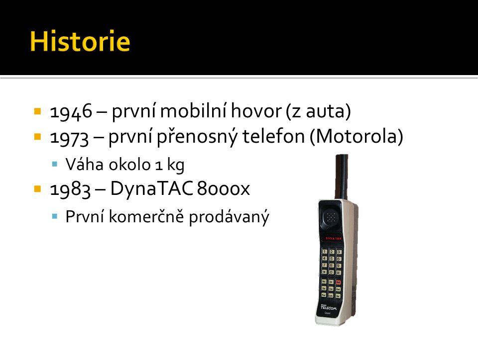  1946 – první mobilní hovor (z auta)  1973 – první přenosný telefon (Motorola)  Váha okolo 1 kg  1983 – DynaTAC 8000x  První komerčně prodávaný