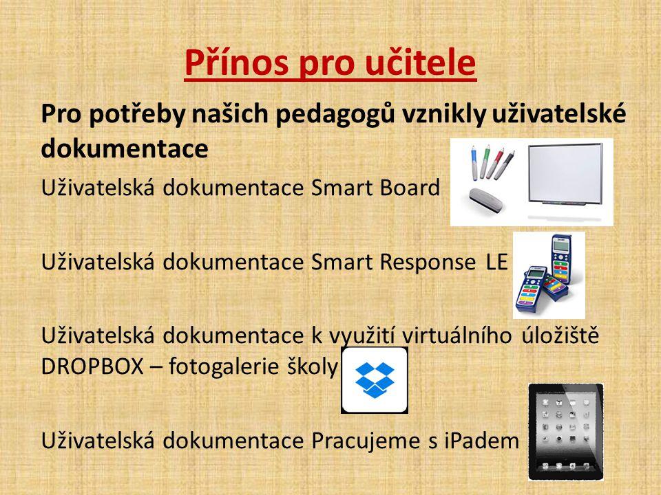 Přínos pro učitele Pro potřeby našich pedagogů vznikly uživatelské dokumentace Uživatelská dokumentace Smart Board Uživatelská dokumentace Smart Respo