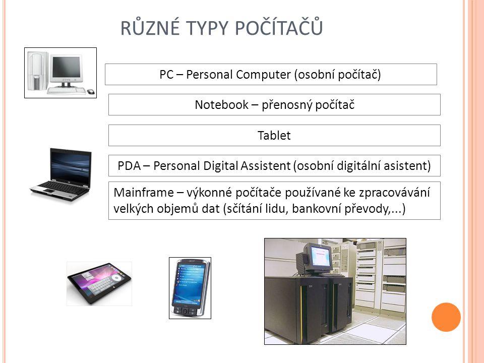 RŮZNÉ TYPY POČÍTAČŮ PDA – Personal Digital Assistent (osobní digitální asistent) PC – Personal Computer (osobní počítač) Mainframe – výkonné počítače