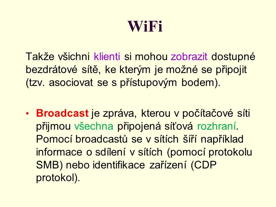 WiFi Takže všichni klienti si mohou zobrazit dostupné bezdrátové sítě, ke kterým je možné se připojit (tzv. asociovat se s přístupovým bodem). Broadca