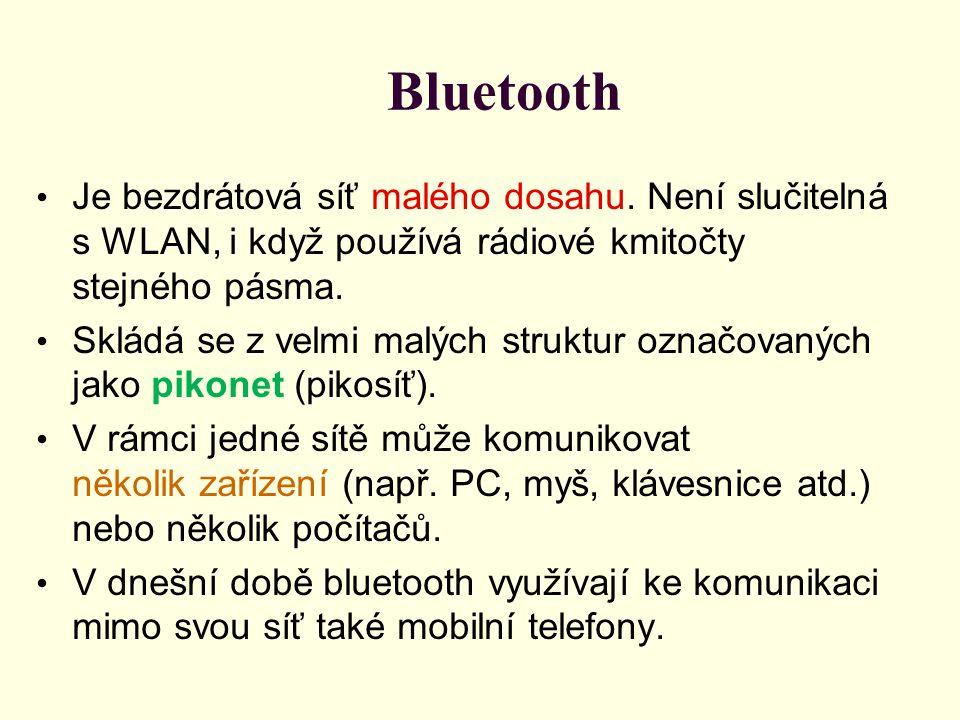 Bluetooth Je bezdrátová síť malého dosahu. Není slučitelná s WLAN, i když používá rádiové kmitočty stejného pásma. Skládá se z velmi malých struktur o