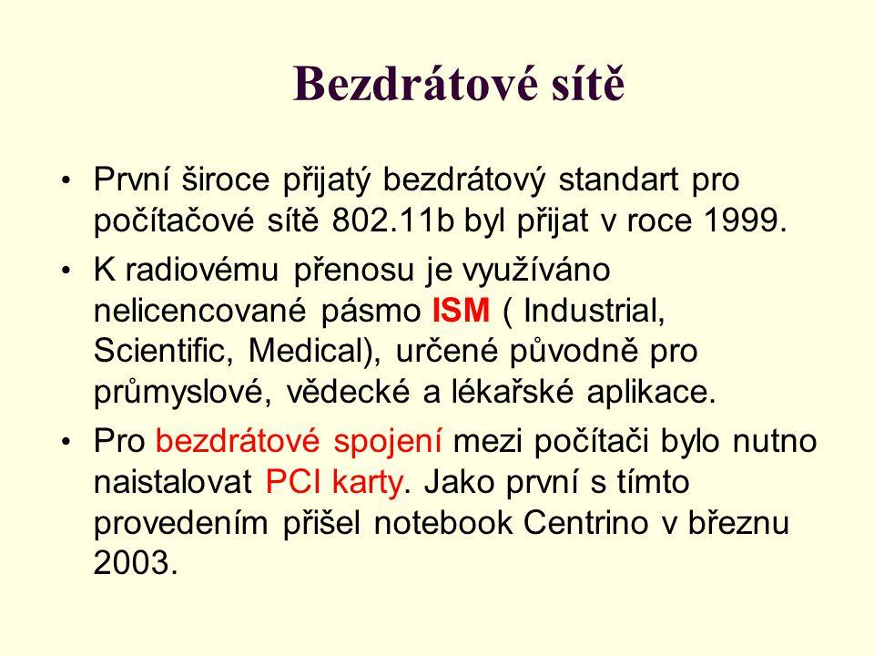 Bezdrátové sítě První široce přijatý bezdrátový standart pro počítačové sítě 802.11b byl přijat v roce 1999. K radiovému přenosu je využíváno nelicenc