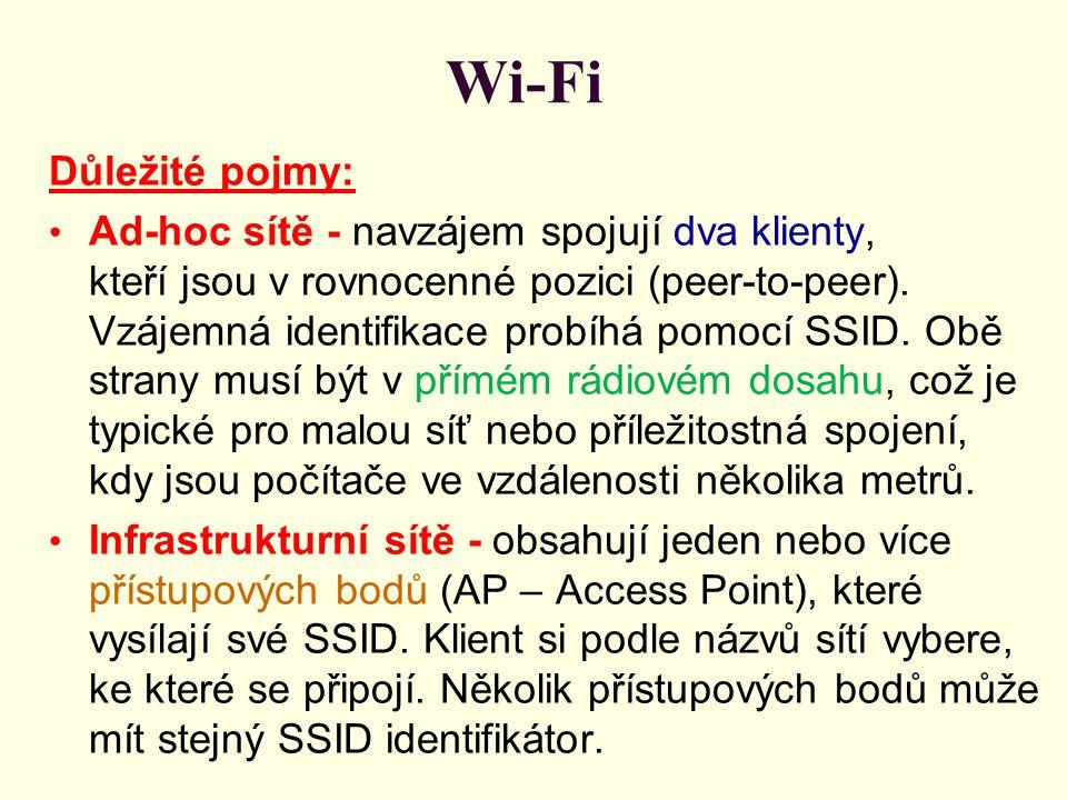 Wi-Fi Důležité pojmy: Ad-hoc sítě - navzájem spojují dva klienty, kteří jsou v rovnocenné pozici (peer-to-peer). Vzájemná identifikace probíhá pomocí