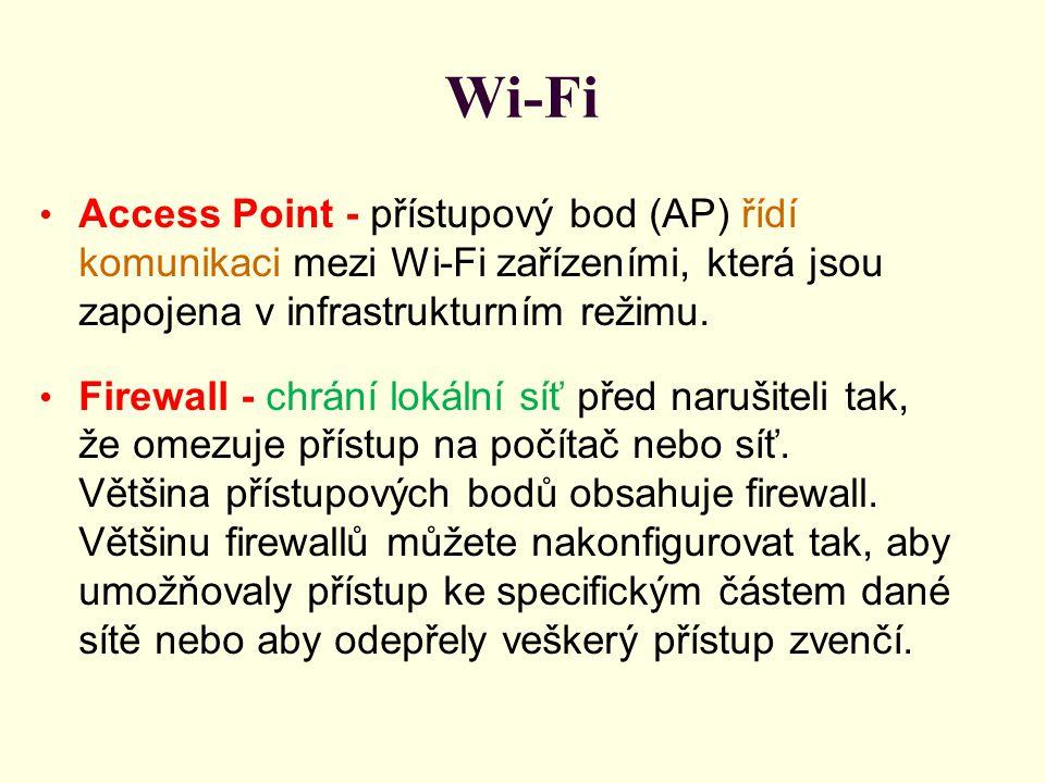 Wi-Fi Access Point - přístupový bod (AP) řídí komunikaci mezi Wi-Fi zařízeními, která jsou zapojena v infrastrukturním režimu. Firewall - chrání lokál