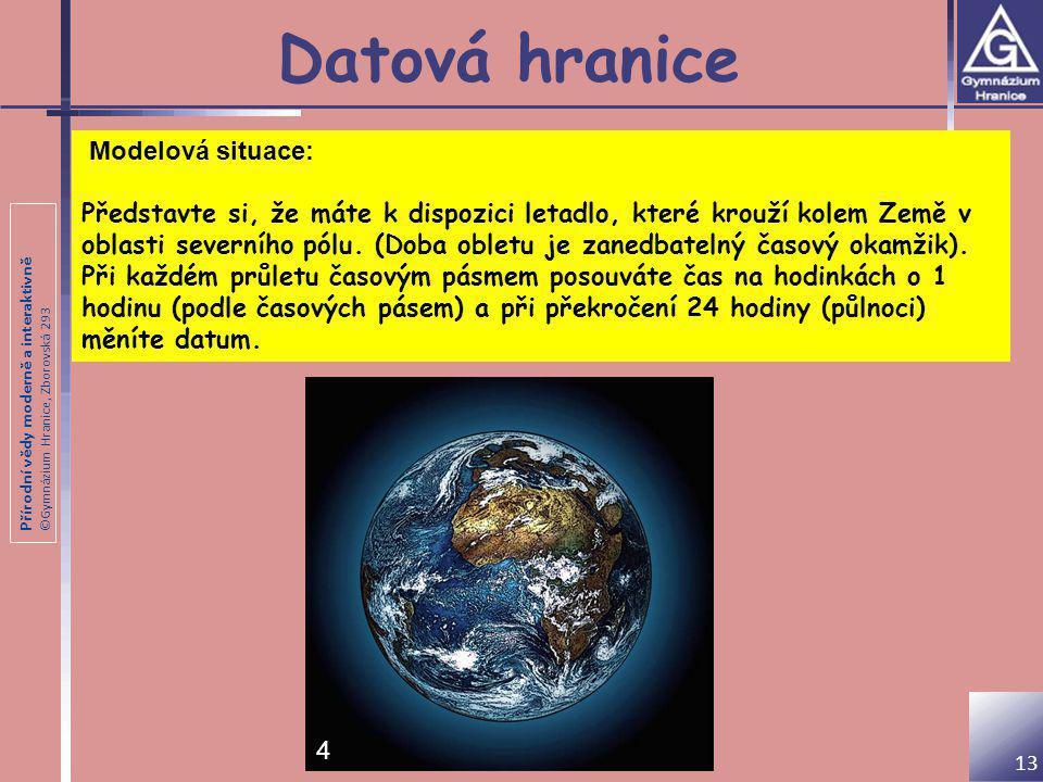 Přírodní vědy moderně a interaktivně ©Gymnázium Hranice, Zborovská 293 Datová hranice Modelová situace: Představte si, že máte k dispozici letadlo, kt