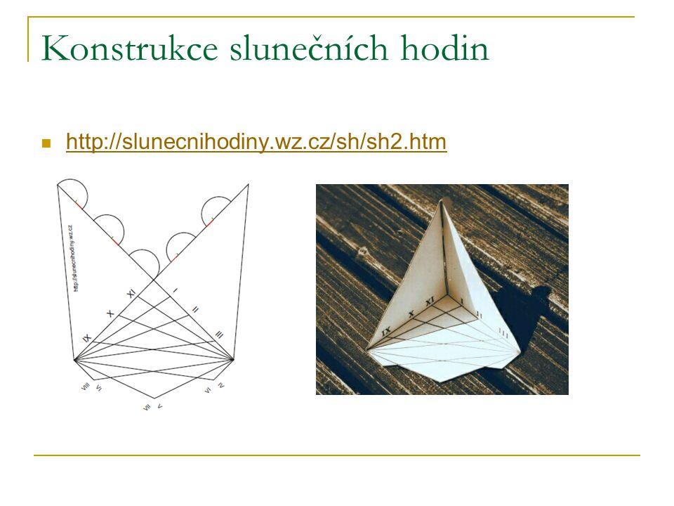 Konstrukce slunečních hodin http://slunecnihodiny.wz.cz/sh/sh2.htm