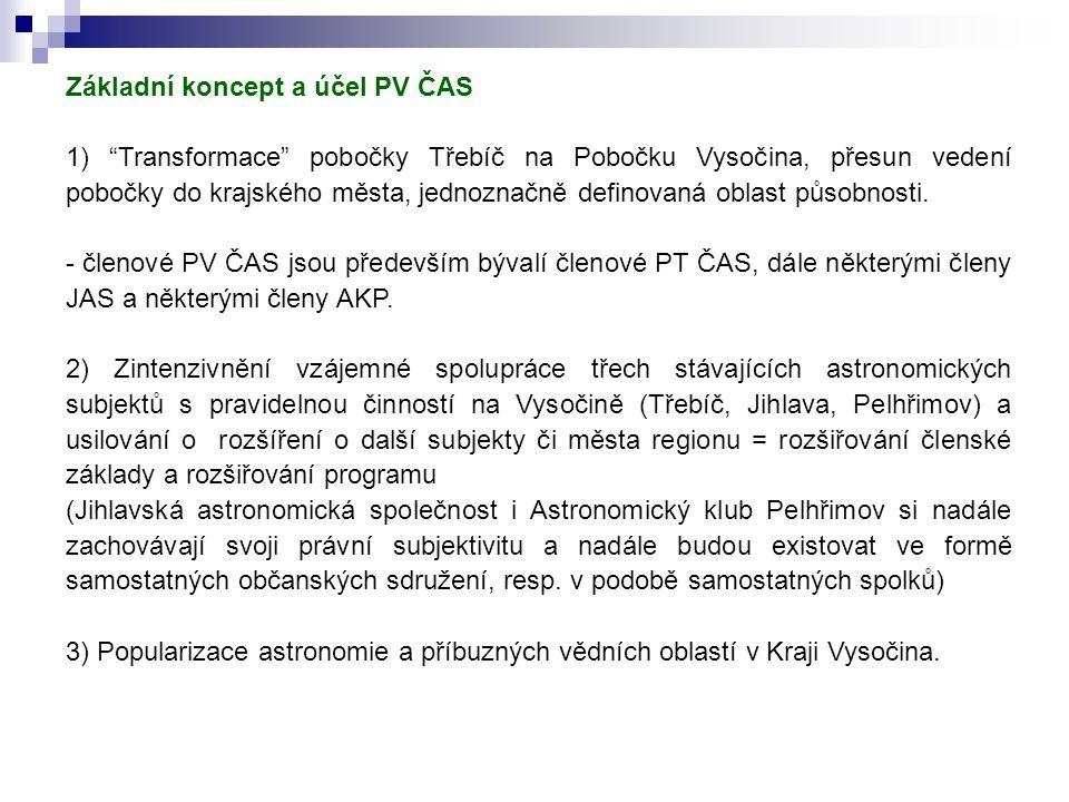 Základní koncept a účel PV ČAS 1) Transformace pobočky Třebíč na Pobočku Vysočina, přesun vedení pobočky do krajského města, jednoznačně definovaná oblast působnosti.