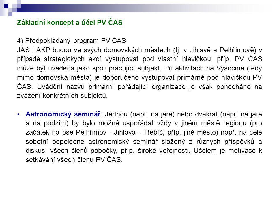 Základní koncept a účel PV ČAS 4) Předpokládaný program PV ČAS JAS i AKP budou ve svých domovských městech (tj.