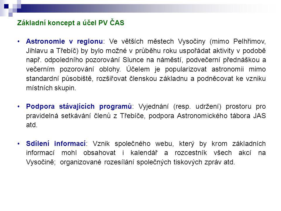 Základní koncept a účel PV ČAS Astronomie v regionu: Ve větších městech Vysočiny (mimo Pelhřimov, Jihlavu a Třebíč) by bylo možné v průběhu roku uspořádat aktivity v podobě např.