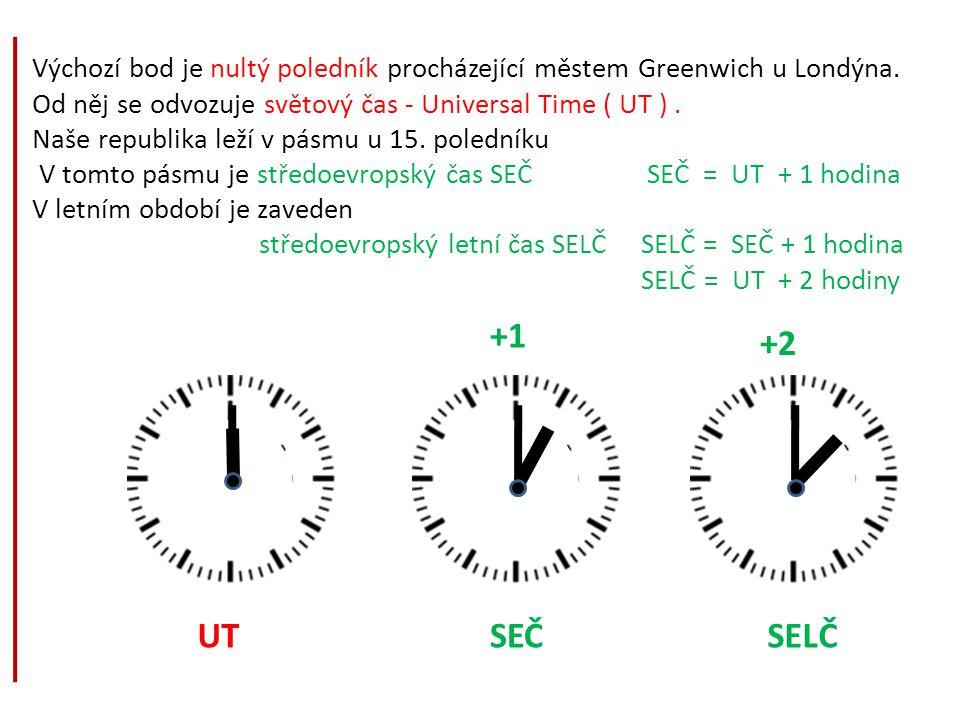 Výchozí bod je nultý poledník procházející městem Greenwich u Londýna. Od něj se odvozuje světový čas - Universal Time ( UT ). Naše republika leží v p