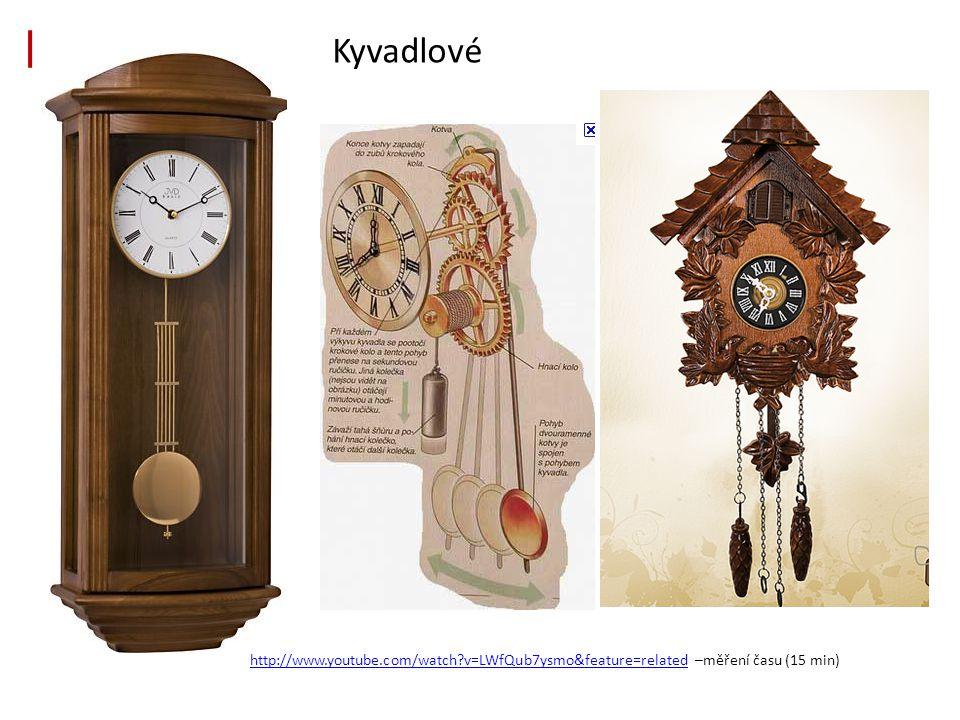 Kyvadlové http://www.youtube.com/watch?v=LWfQub7ysmo&feature=relatedhttp://www.youtube.com/watch?v=LWfQub7ysmo&feature=related –měření času (15 min)