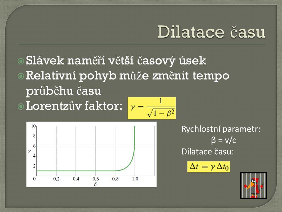  Slávek nam ěř í v ě tší č asový úsek  Relativní pohyb m ůž e zm ě nit tempo pr ů b ě hu č asu  Lorentz ů v faktor: Rychlostní parametr: β = v/c Dilatace času: