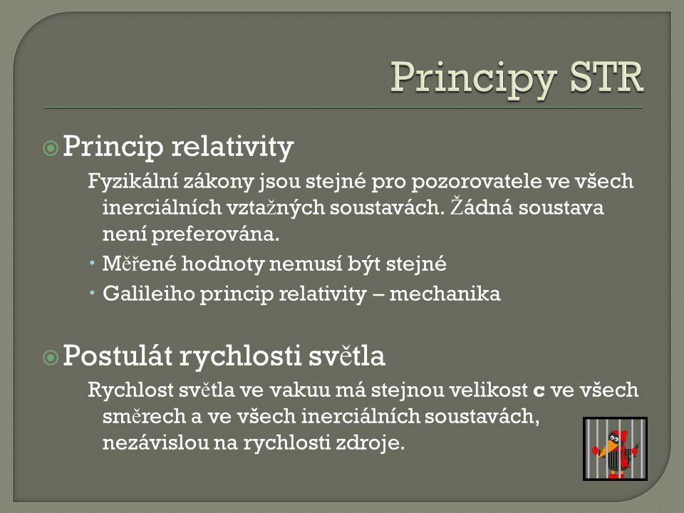  Princip relativity Fyzikální zákony jsou stejné pro pozorovatele ve všech inerciálních vzta ž ných soustavách.