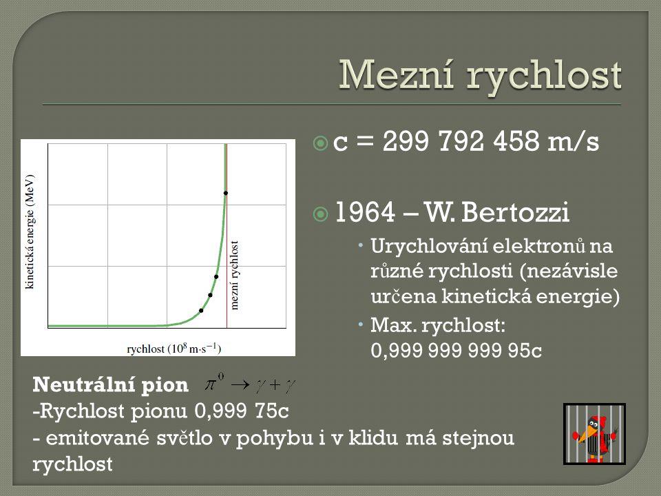  c = 299 792 458 m/s  1964 – W.
