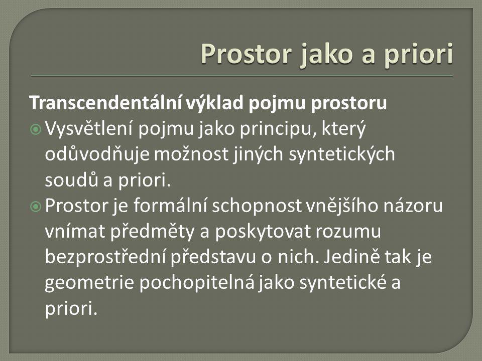 Transcendentální výklad pojmu prostoru  Vysvětlení pojmu jako principu, který odůvodňuje možnost jiných syntetických soudů a priori.  Prostor je for