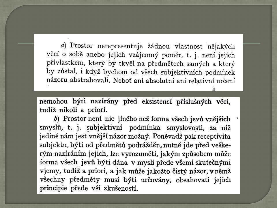 Závěry Prostor není vlastností věcí o sobě ani nevyjadřuje jejich vzájemný poměr.