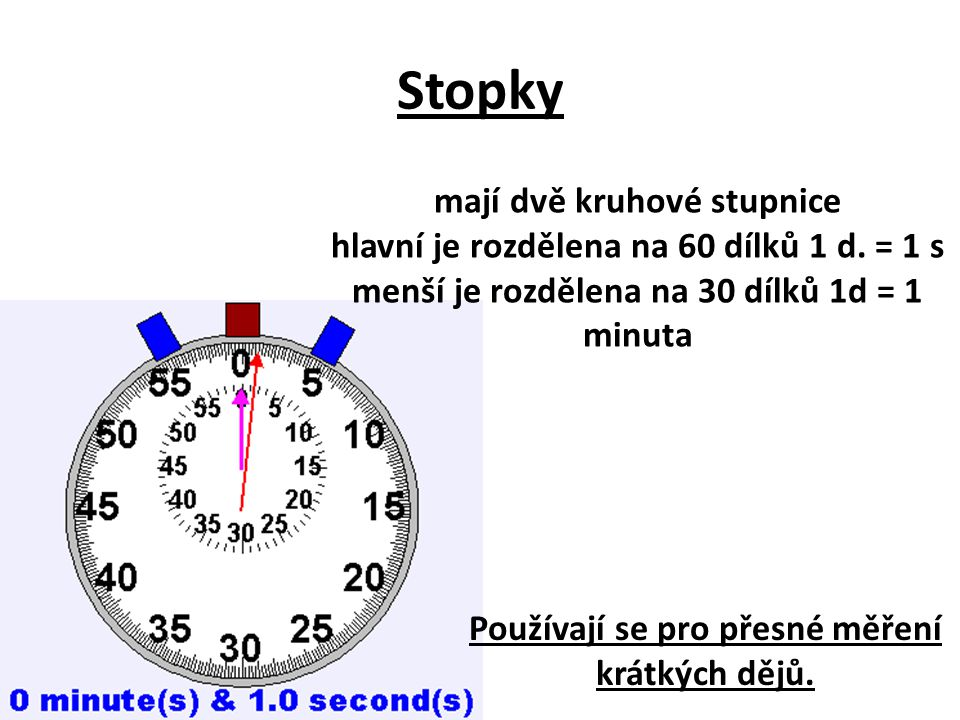 Stopky mají dvě kruhové stupnice hlavní je rozdělena na 60 dílků 1 d. = 1 s menší je rozdělena na 30 dílků 1d = 1 minuta Používají se pro přesné měřen