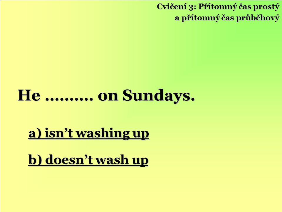 a) isn't washing up a) isn't washing up b) doesn't wash up b) doesn't wash up He ……….