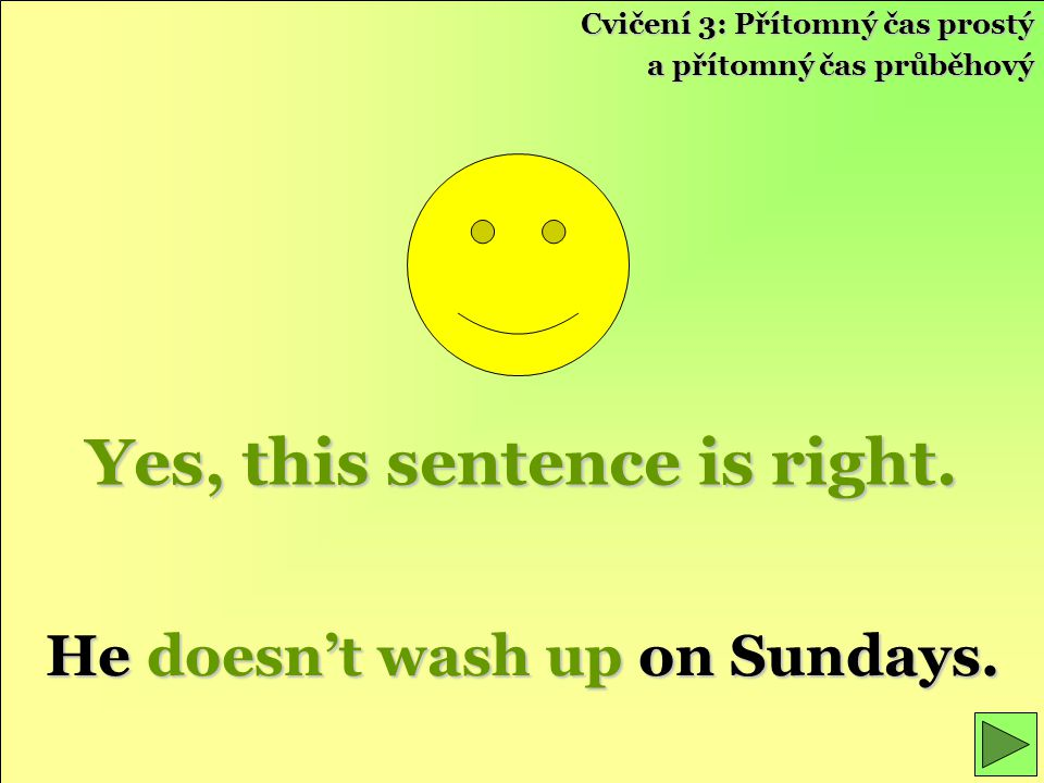 Yes, this sentence is right.He doesn't wash up on Sundays.