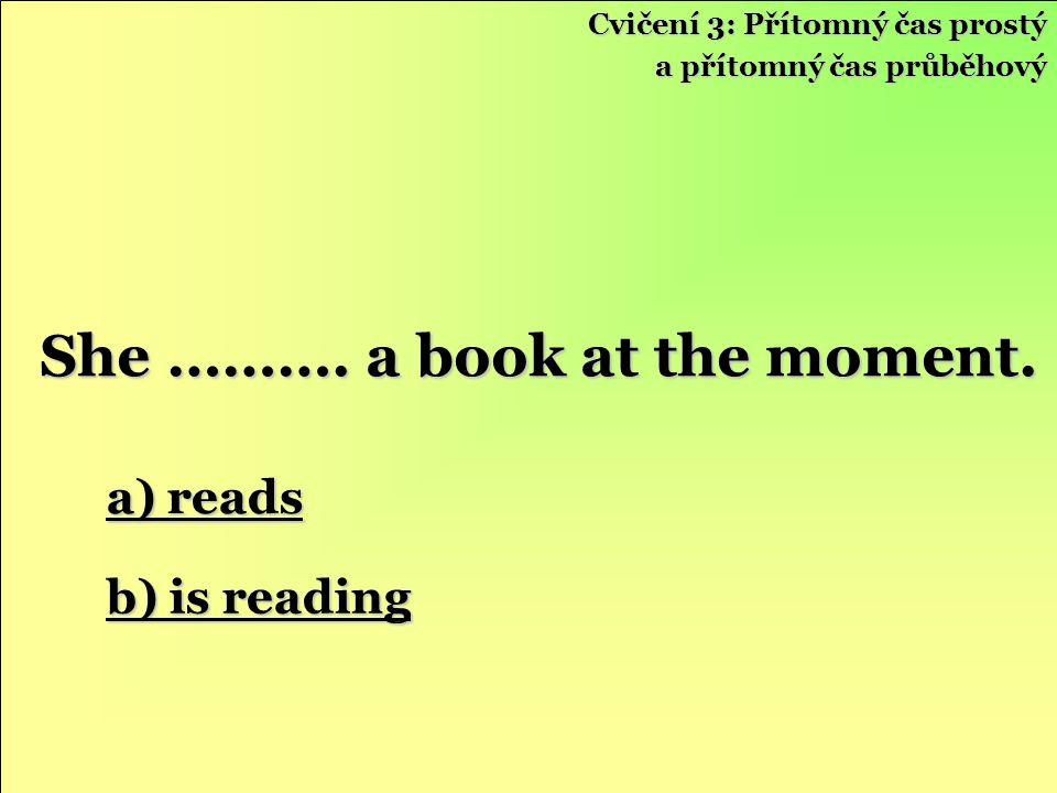 Cvičení 3: Přítomný čas prostý a přítomný čas průběhový a) reads a) reads b) is reading b) is reading She ……….
