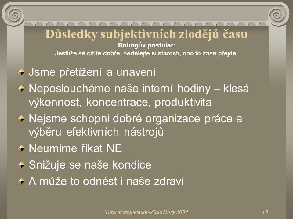 Time management -Zlaté Hory 200411 Tak jak na to.1.