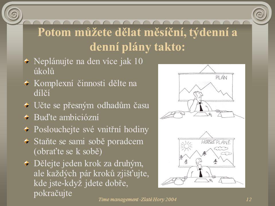 Time management -Zlaté Hory 200412 Potom můžete dělat měsíční, týdenní a denní plány takto: Neplánujte na den více jak 10 úkolů Komplexní činnosti děl