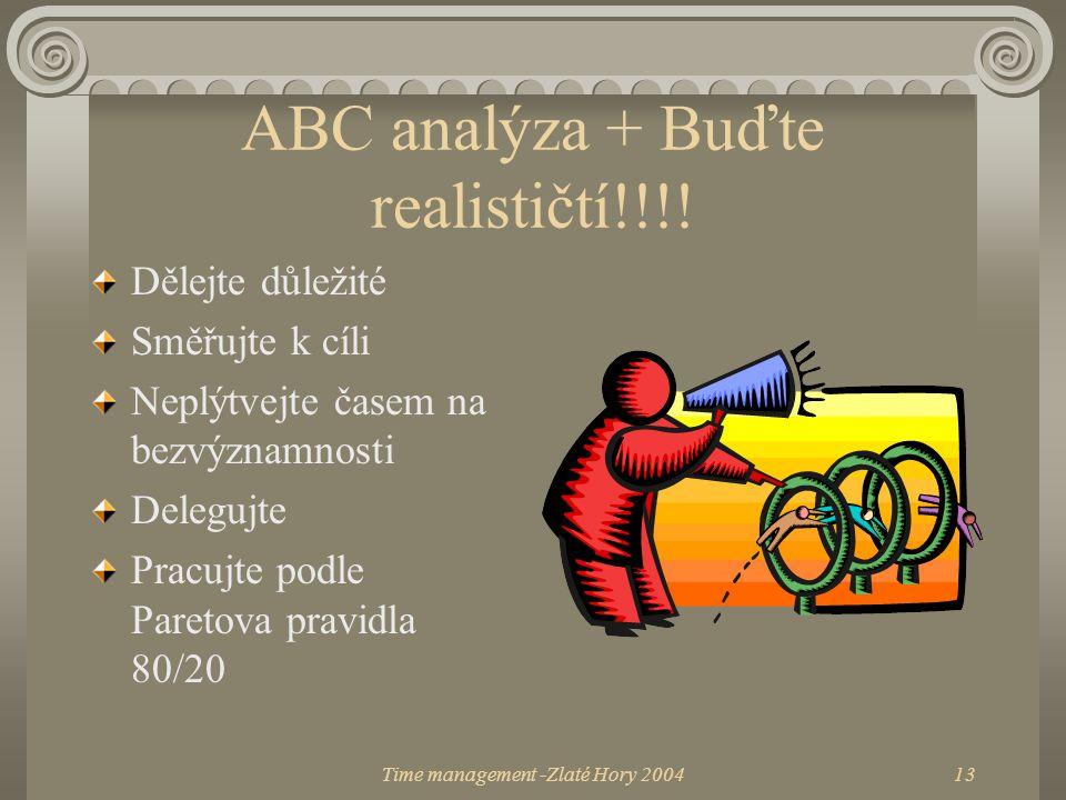 Time management -Zlaté Hory 200413 ABC analýza + Buďte realističtí!!!! Dělejte důležité Směřujte k cíli Neplýtvejte časem na bezvýznamnosti Delegujte