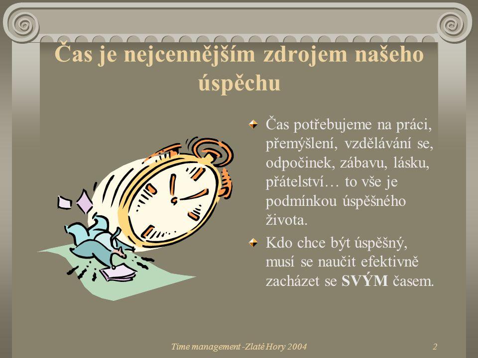 Time management -Zlaté Hory 20042 Čas je nejcennějším zdrojem našeho úspěchu Čas potřebujeme na práci, přemýšlení, vzdělávání se, odpočinek, zábavu, l