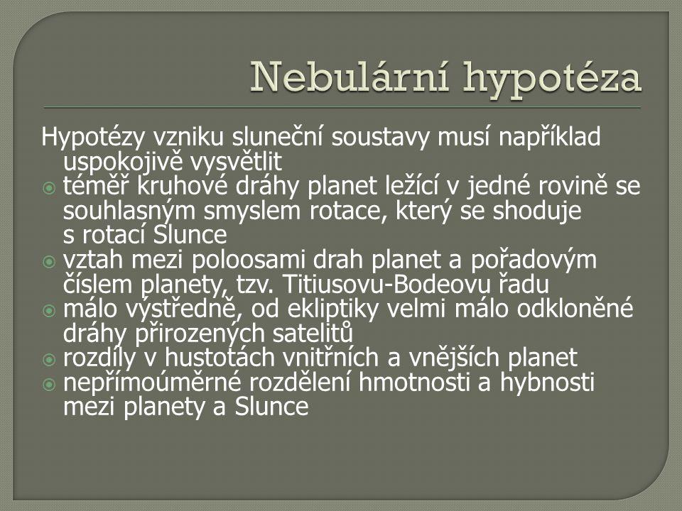 Hypotézy vzniku sluneční soustavy musí například uspokojivě vysvětlit  téměř kruhové dráhy planet ležící v jedné rovině se souhlasným smyslem rotace, který se shoduje s rotací Slunce  vztah mezi poloosami drah planet a pořadovým číslem planety, tzv.