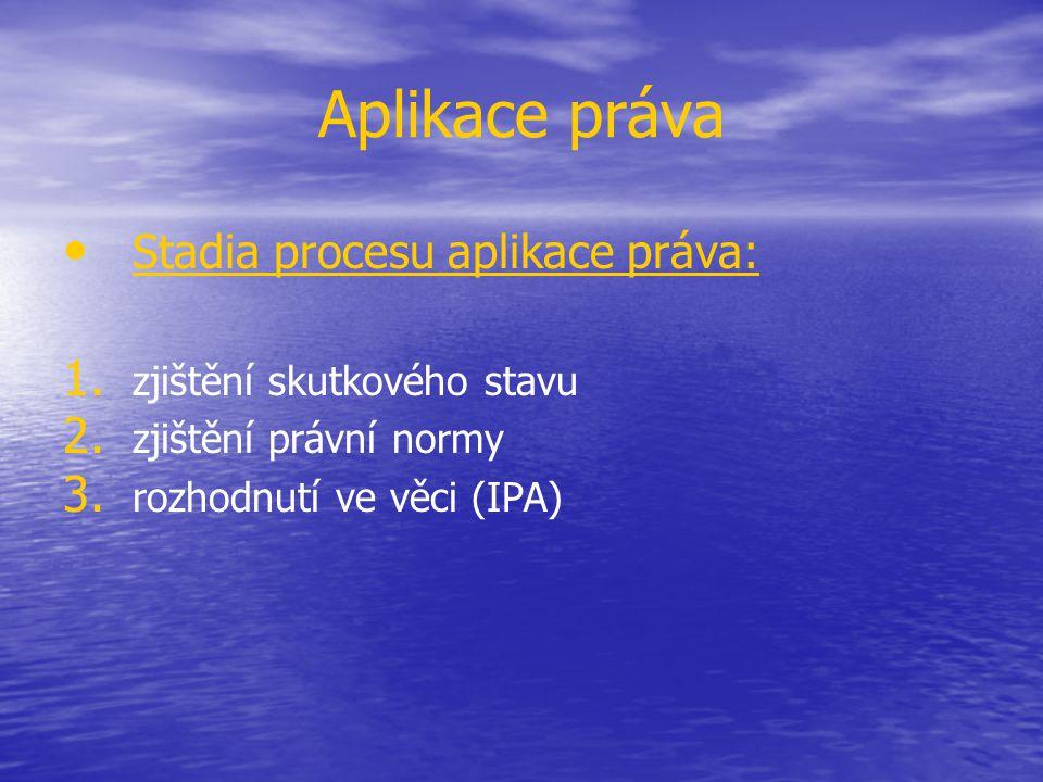 Aplikace práva Stadia procesu aplikace práva: 1. 1. zjištění skutkového stavu 2. 2. zjištění právní normy 3. 3. rozhodnutí ve věci (IPA)