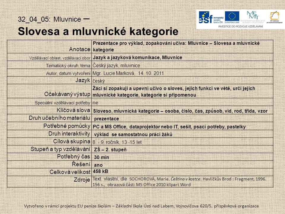32_04_05: Mluvnice – Slovesa a mluvnické kategorie Anotace Prezentace pro výklad, zopakování učiva: Mluvnice – Slovesa a mluvnické kategorie Vzdělávac