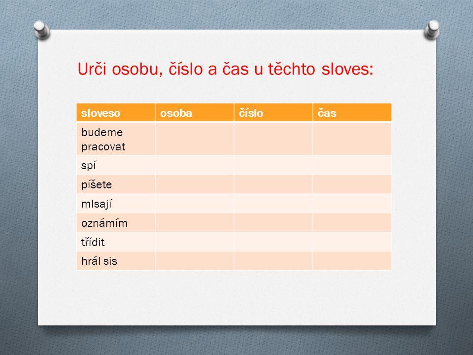Správné řešení slovesoosobačísločas budeme pracovat 1.množnébudoucí spí3.jednotnépřítomný píšete2.množnépřítomný mlsají3.množnépřítomný oznámím1.jednotnébudoucí tříditneurčujeme hrál sis2.jednotnéminulý