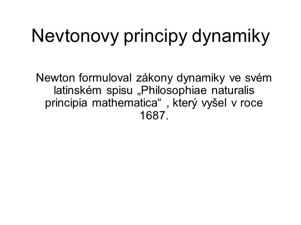 """Nevtonovy principy dynamiky Newton formuloval zákony dynamiky ve svém latinském spisu """"Philosophiae naturalis principia mathematica"""", který vyšel v ro"""