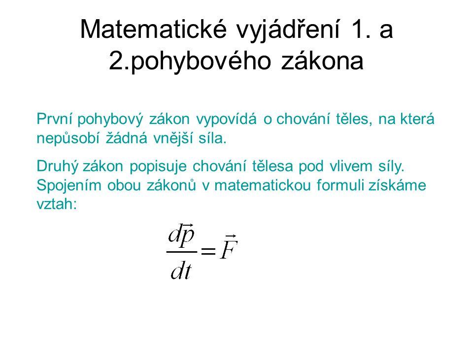 Matematické vyjádření 1. a 2.pohybového zákona První pohybový zákon vypovídá o chování těles, na která nepůsobí žádná vnější síla. Druhý zákon popisuj